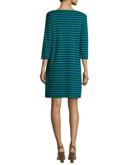 Joan Vass Plus Size 3/4-Sleeves Striped Cotton Interlock Dress