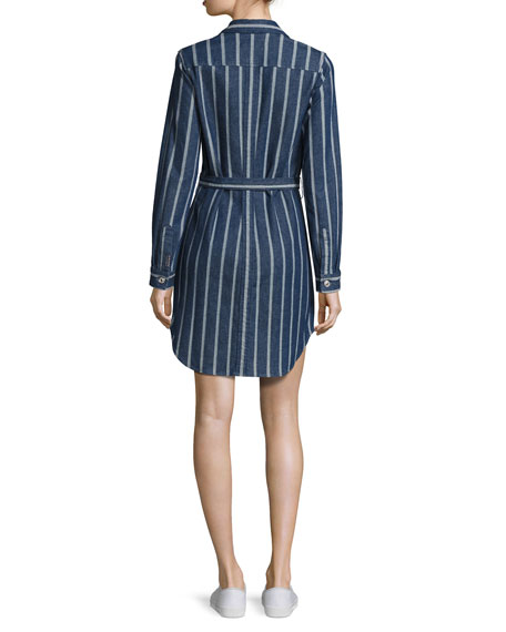 Striped Denim Belted Shirtdress, Indigo