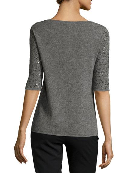 Half-Sleeve Sequin Cashmere Sweater