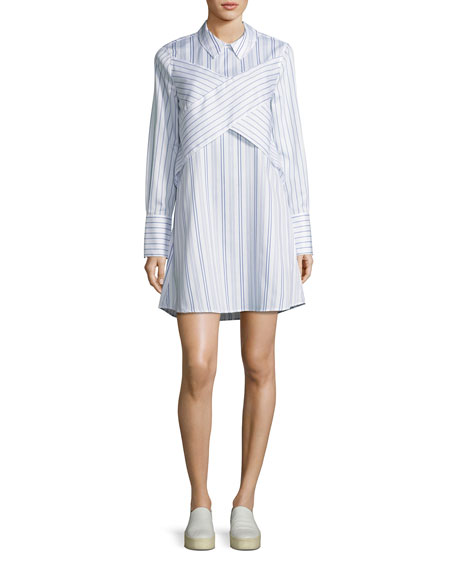 BCBGMAXAZRIA Azriel Striped Shirtdress, White/Blue