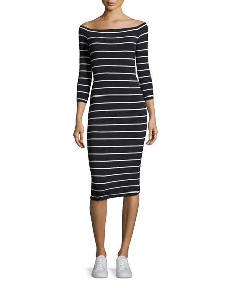 Galley Down Off-the-Shoulder Striped Midi Dress, Blue/White