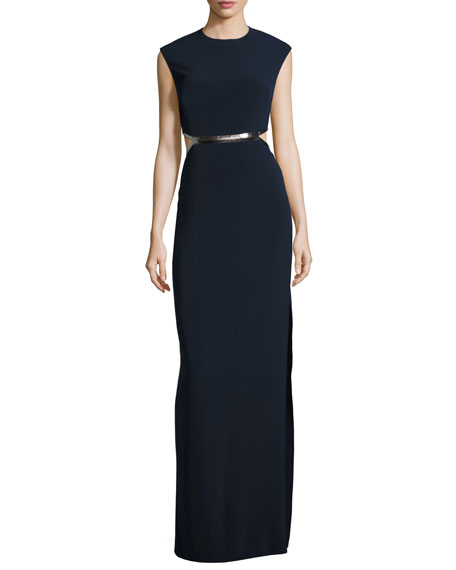 Halston Heritage Sleeveless Metallic-Trim Stretch Crepe Gown,