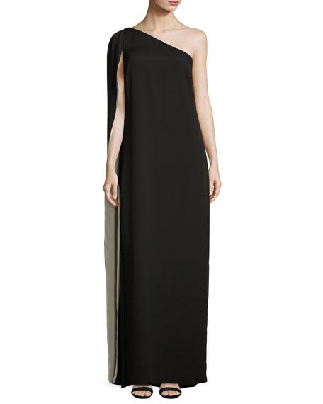 Halston heritage black silk cape dress