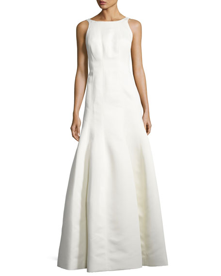 Halston Heritage Sleeveless Structured Ball Gown, Eggshell