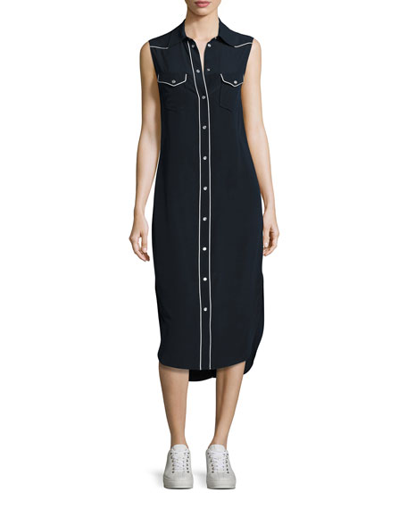 Rag & Bone Jesse Sleeveless Western Midi Shirtdress,