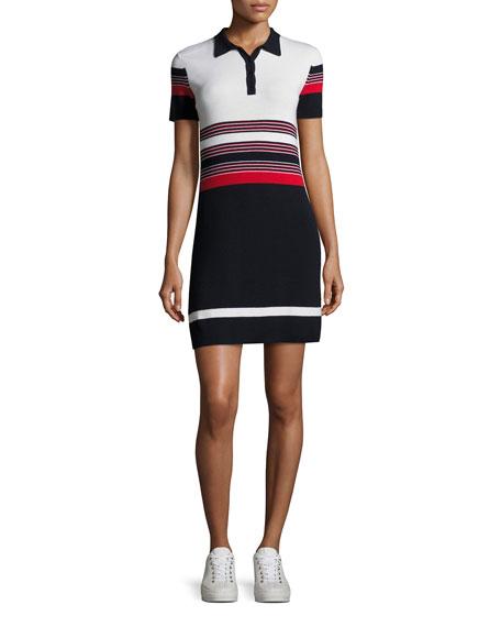 Rag & Bone Krista Short-Sleeve Striped Polo Dress,