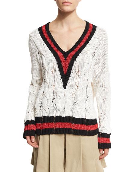 Rag & Bone Emma Varsity-Stripe Cable Knit Sweater,