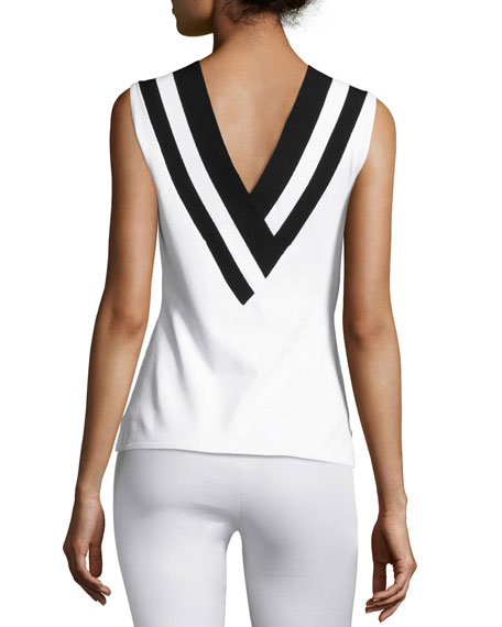 Daphne Striped Knit V-Neck Tank, White