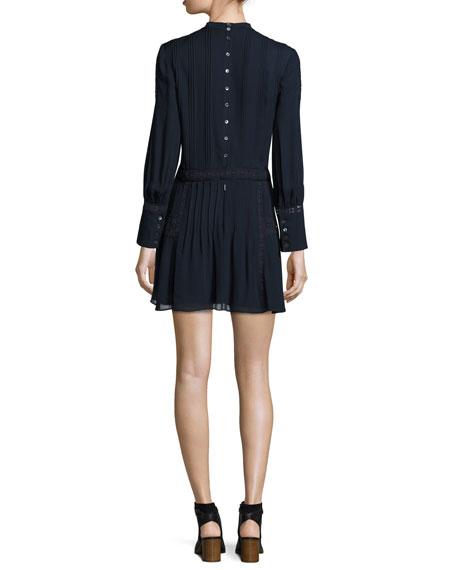 Long-Sleeve Silk Victorian Mini Dress, Navy