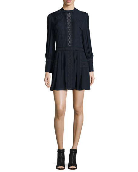 Haute Hippie Long-Sleeve Silk Victorian Mini Dress, Navy