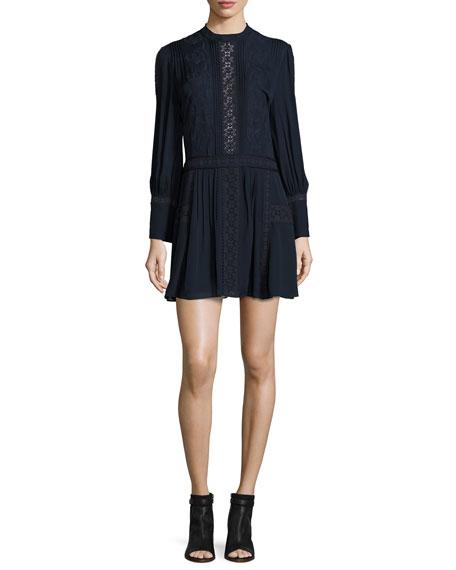 Haute Hippie Long-Sleeve Silk Victorian Mini Dress, Navy