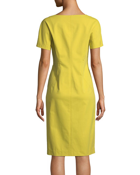 Deja Zip-Front Fundamental Bi-Stretch Sheath Dress