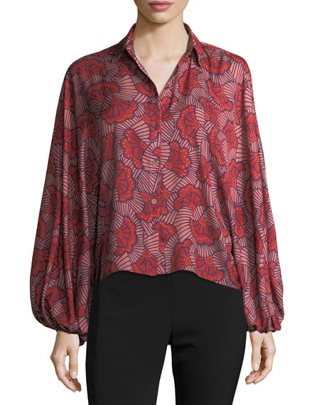 Alexis Nicolette Blooming Batwing-Sleeve Blouse, Red