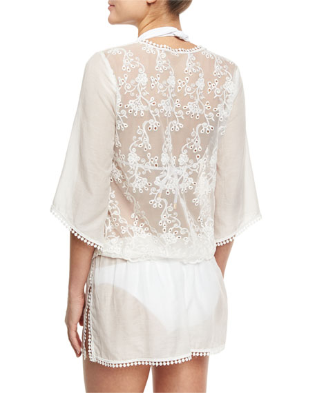 Queen & Pawn Rhea Lace-Trim Cotton-Silk Voile Caftan