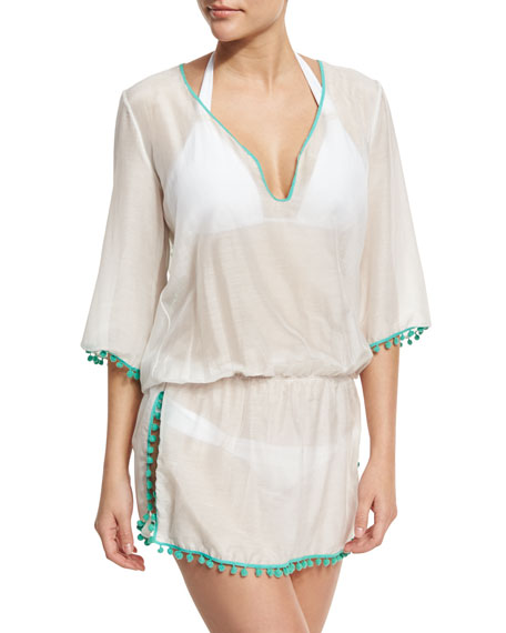 Rhea Pompom-Trim Cotton-Silk Voile Caftan Coverup, Green/White
