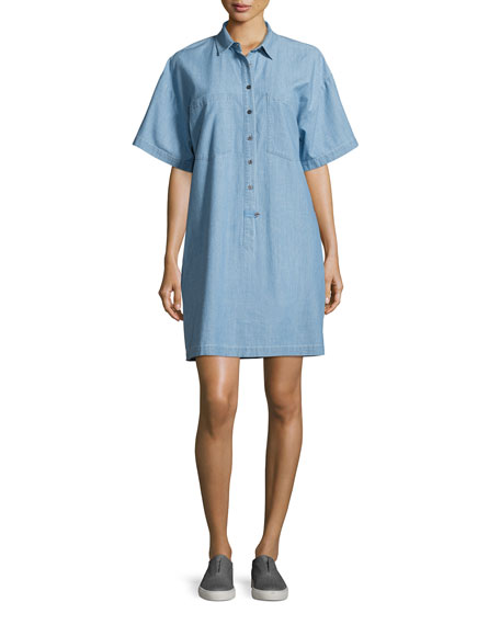 Derek Lam 10 Crosby Chambray 1/2-Sleeve Shirtdress, Light
