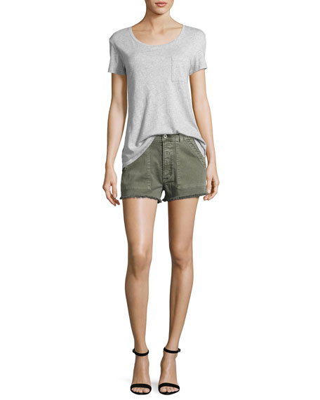 Mika High-Rise Military Shorts with Raw Hem, Green