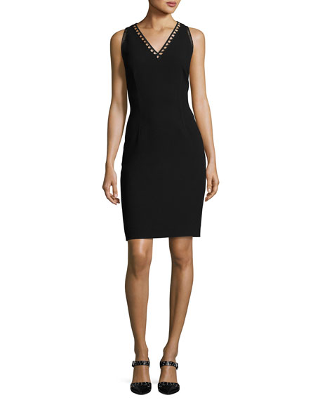 Elie Tahari Venice Sleeveless Sheath Dress, Black