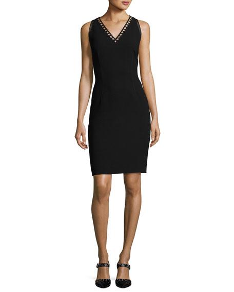 Elie Tahari Venice Sleeveless Sheath Dress, Black