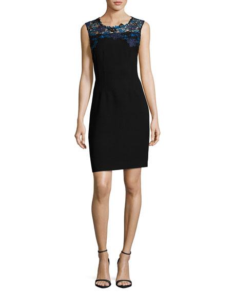Elie Tahari Blake Sleeveless Lace-Yoke Sheath Dress, Black
