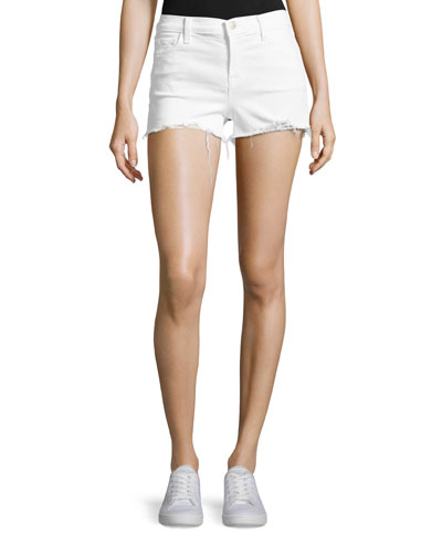 1044 Mid-Rise Denim Shorts, White
