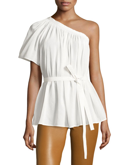 Helmut Lang Belted Shirred One-Shoulder Top, White