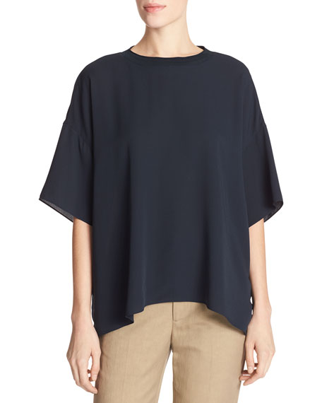 Crepe Silk Rib-Neck Drop-Shoulder Tee