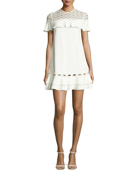 Jonathan Simkhai Rope Short-Sleeve Ruffle Dress, White