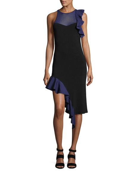 Jonathan Simkhai Hanging Ruffle Asymmetric-Hem Cocktail Dress