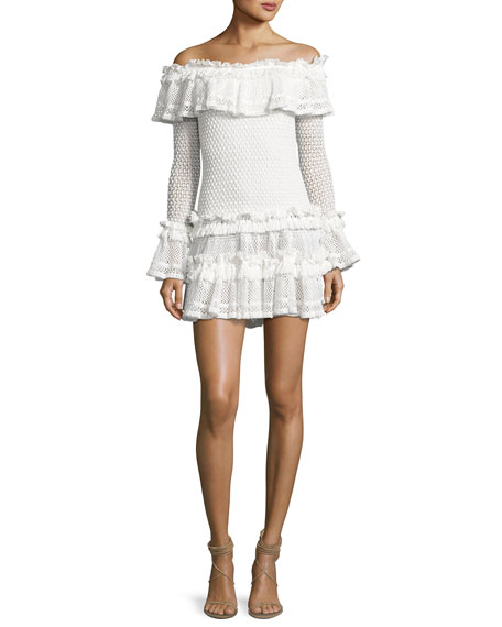 Jonathan Simkhai Crocheted Ruffle Off-the-Shoulder Mini Dress,