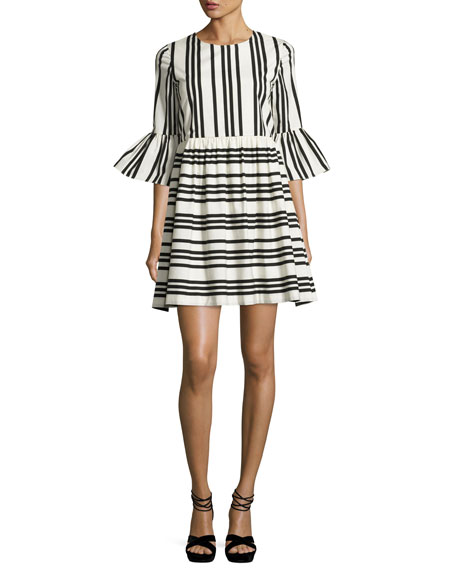 Alice + Olivia Augusta Striped Ruffle-Sleeve Dress, Black/White