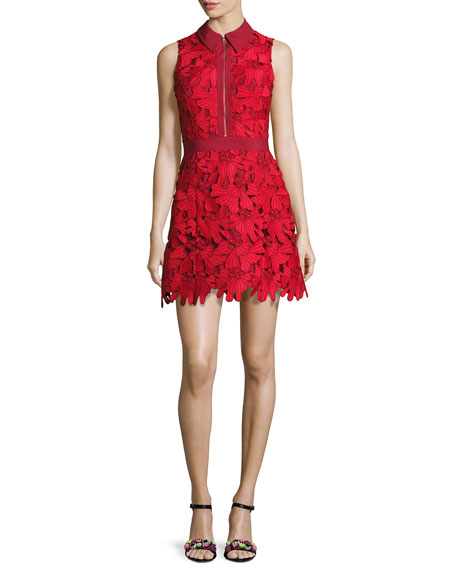 Alice Olivia Ellis Guipure Lace Sleeveless Zip Front Dress Red Neiman Marcus