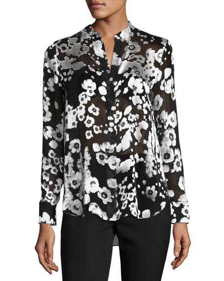 Alice + Olivia Belle Metallic Floral Mandarin-Collar Shirt,
