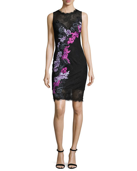 Jovani Sleeveless Floral Lace Cocktail Dress, Black