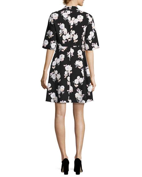 posy floral swing dress, black