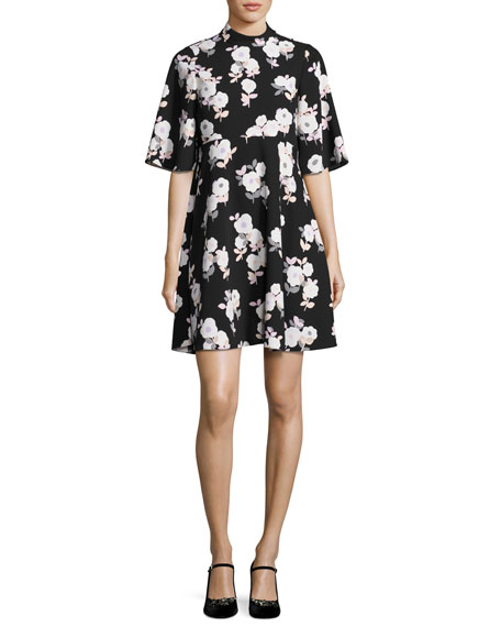 posy floral swing dress, black
