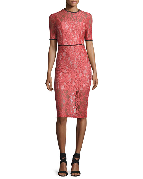 Alexis Remi Short-Sleeve Lace Sheath Dress, Pink