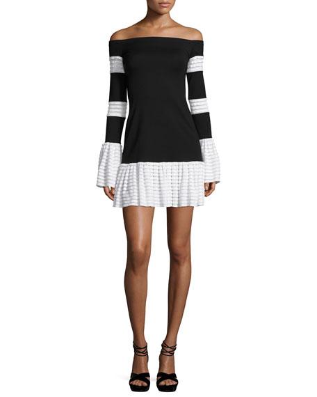 Alexis Miggy Contrast-Trim Off-the-Shoulder Knit Mini Dress,