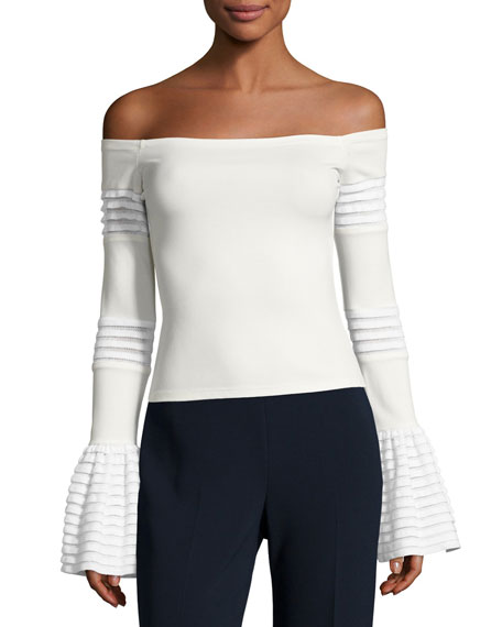 Gryffin Off-the-Shoulder Bell-Sleeve Knit Top, White