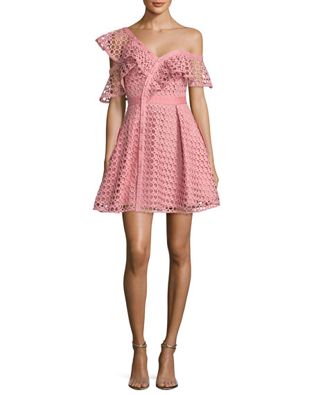 Lace Frill Asymmetric Cold-Shoulder Fit & Flare Mini Dress, Pink