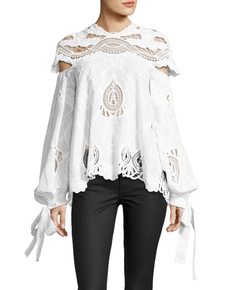 Jonathan Simkhai Crochet-Embroidered Blouson-Sleeve Top, White