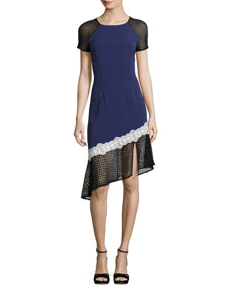 Jonathan Simkhai Multimedia Corded Asymmetric-Ruffle Dress, Blue