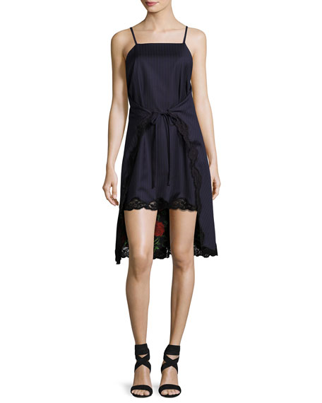 Pinstripe Tie-Front Apron Slip Dress, Navy