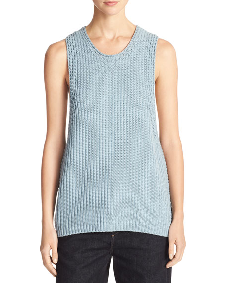 Cotton Waffle-Stitch Sweater Tank Top