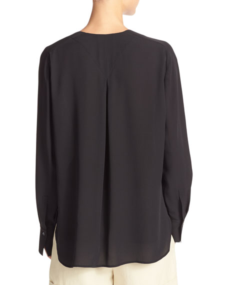 Collarless Pleat-Back Silk Crepe Blouse
