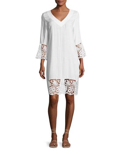 Plage et Ville Lace-Trim Tunic Dress, White