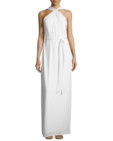 Halston Heritage Sleeveless Crisscross Slit Gown, Chalk