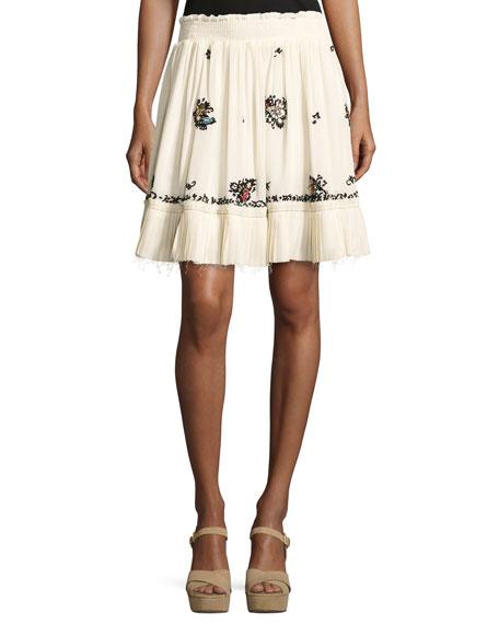 Derek Lam 10 Crosby Embroidered Silk Mini Skirt,