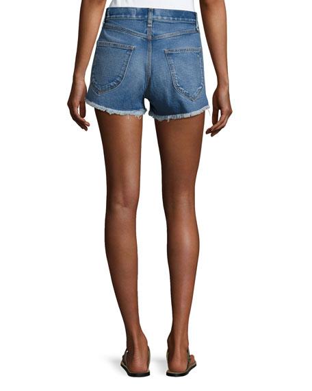 Lou High-Rise Cutoff Shorts, Bluehill
