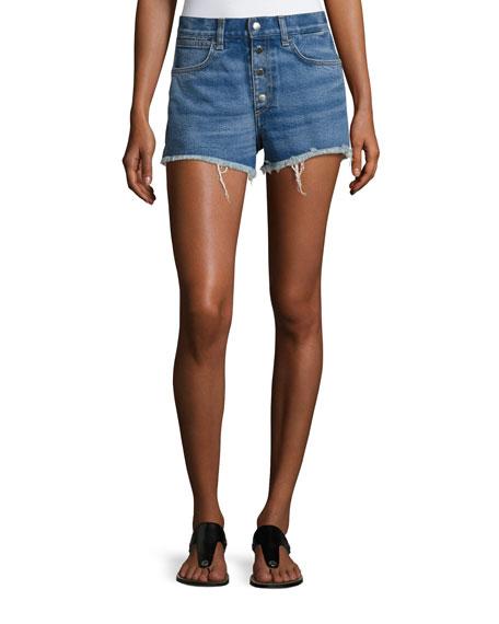 rag & bone/JEAN Lou High-Rise Cutoff Shorts, Bluehill